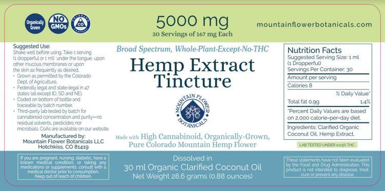5000mg Hemp Extract Tincture, broad spectrum, whole plant, zero THC