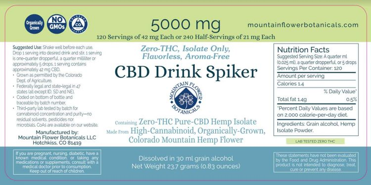 CBD Drink Spiker 5000mg, Zero THC, Isolate Only, 120 servings of 42mg each