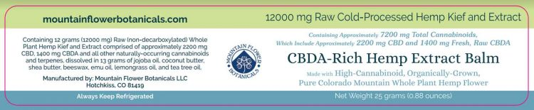 CBDA Rich Hemp Extract Balm, 1200mg Raw Cold-Processed, Total Cannabinoids 7200mg