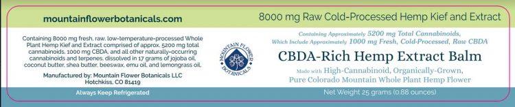CBDA Rich Hemp Extract Balm, 8000mg Raw Cold-Processed, Total Cannabinoids 5200mg