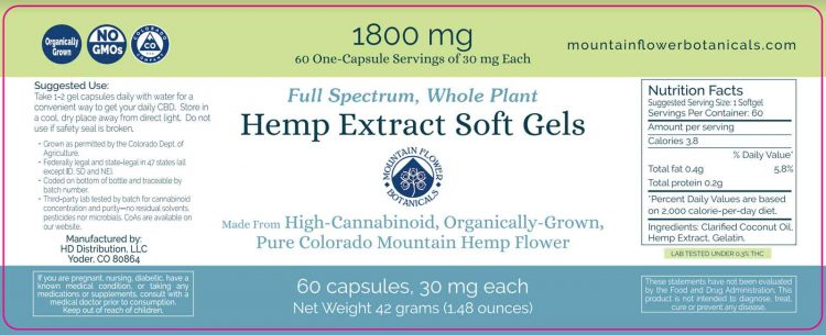 Hemp Extract Soft Gels, Full Spectrum Whole Plant, 1800 mg, 60 capsules