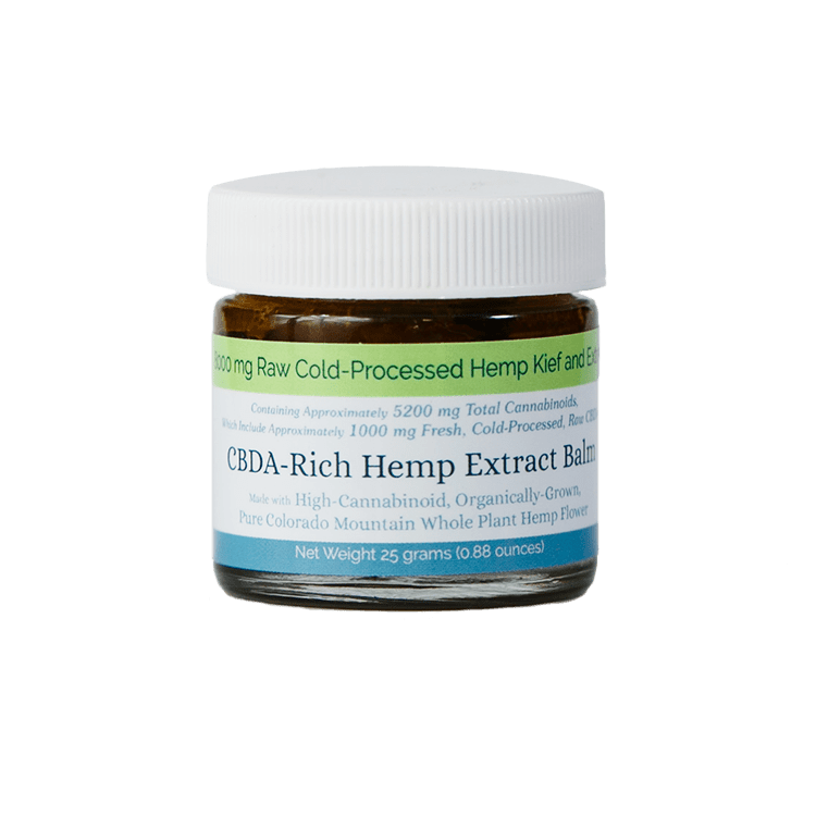 8,000 mg CBDA-Rich Hemp Extract Balm, Raw Cold-Processed Hemp Kief and Extract; contains approximately 5200 mg total Cannabinoids; Net Weight 25 grams (0.88 oz); Made with High-Cannabinoid, Organically-Grown Pure Colorado Mountain Whole Plant Hemp Flower.