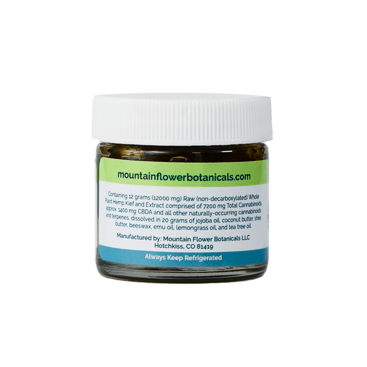 Containing 12 grams (12000mg) Raw (non-decarboxylated) Whole Plant Hemp Kief and Extract comprised of 7200 mg Total Cannabinoids, approximately 1400 mg CBDA and other naturally-occurring cannabinoids and terpenes, dissolved in 20 grams of Jojoba Oil, Coconut Butter, Shew Butter, Beeswax, Emu Oil, Lemongrass Oil, and Tea Tree Oil. Keep Refrigerated.