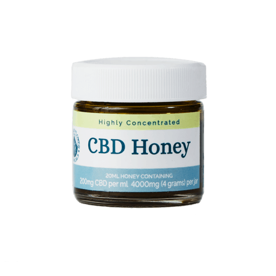 CBD Honey, Highly Concentrated; 20 ml honey containing 200 mg CBD per ml, 4000 (4 grams) per jar