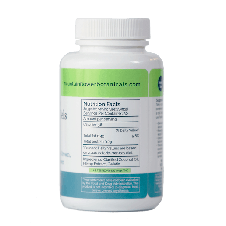900 mg, Full Spectrum, Whole Plant Hemp Extract Soft Gels. Lab Tested under 0.3% THC. Ingredients: Clarified Coconut Oil, Hemp Extract, Gelatin. Suggested Serving: 1 Soft Gel. Servings per container: 30