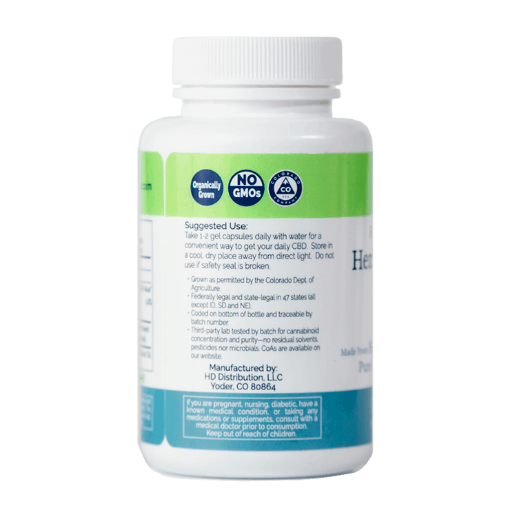 900 mg, Full Spectrum, Whole Plant Hemp Extract Soft Gels, organically grown. Suggested Use: Take 1 - 2 gel capsules daily with water for a convenient way to get your daily CBD.