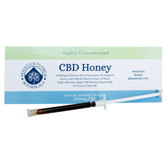 CBD Honey, sublingual honey-gel of coconut oil, 1 ml syringe contains 200 mg CBD