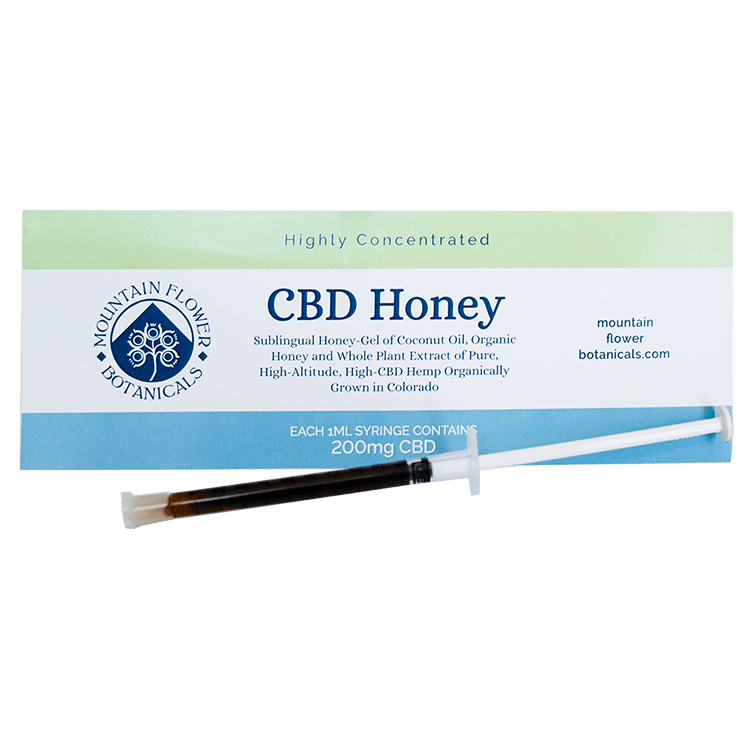 CBD Honey, sublingual honey-gel of coconut oil, 1 ml syringe contains 200 mg CBD
